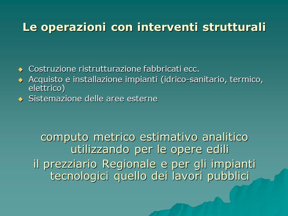 Le operazioni con interventi strutturali