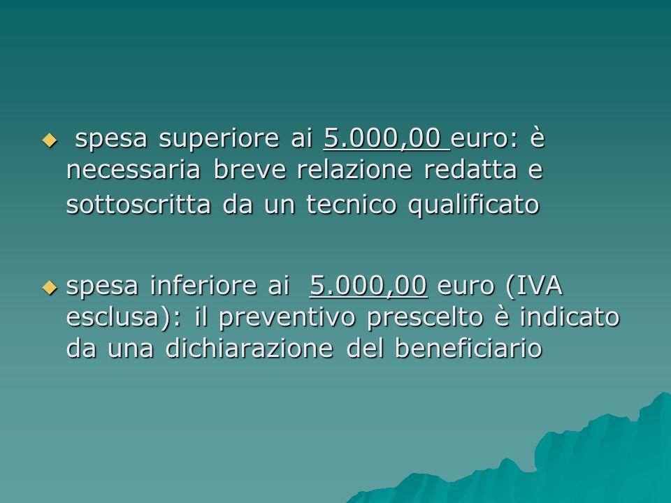 spesa superiore ai 5.000,00 euro: è necessaria breve relazione redatta e sottoscritta da un tecnico qualificato