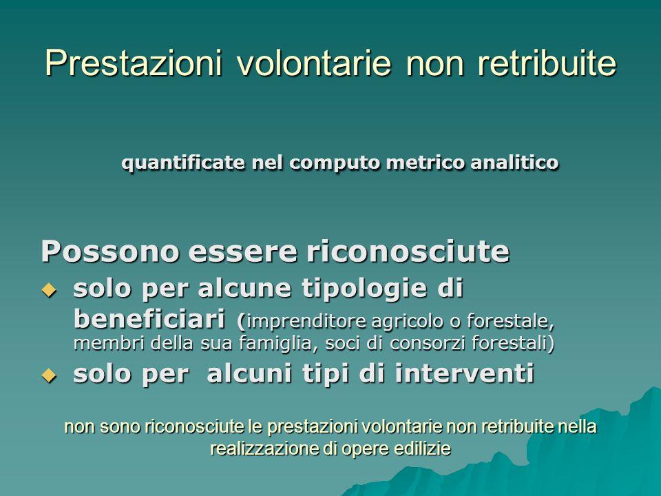 Prestazioni volontarie non retribuite