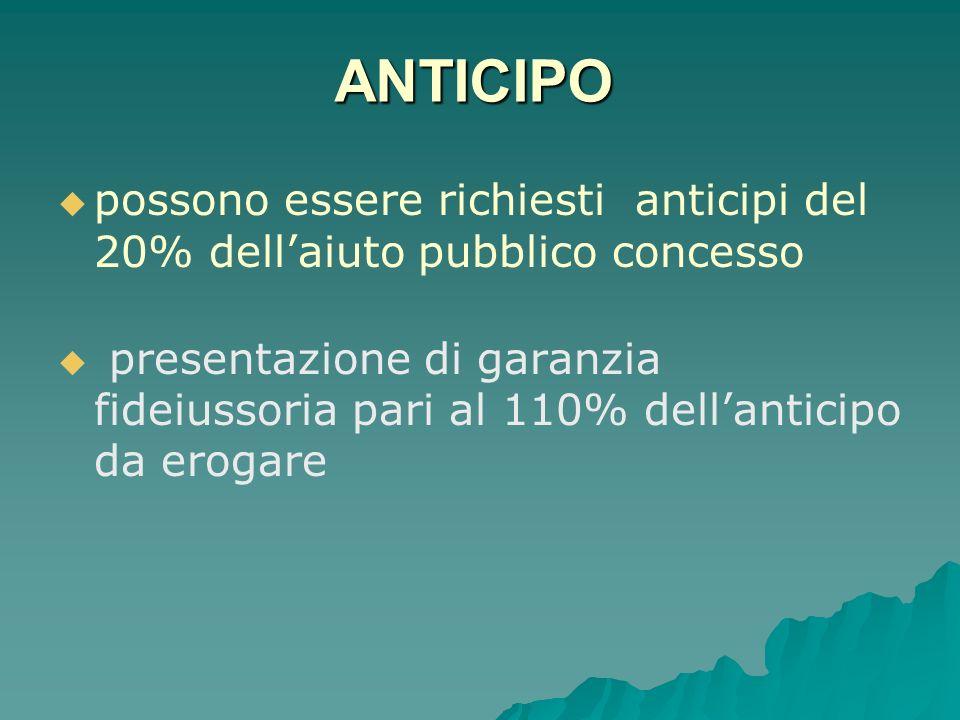 ANTICIPO possono essere richiesti anticipi del 20% dell'aiuto pubblico concesso.