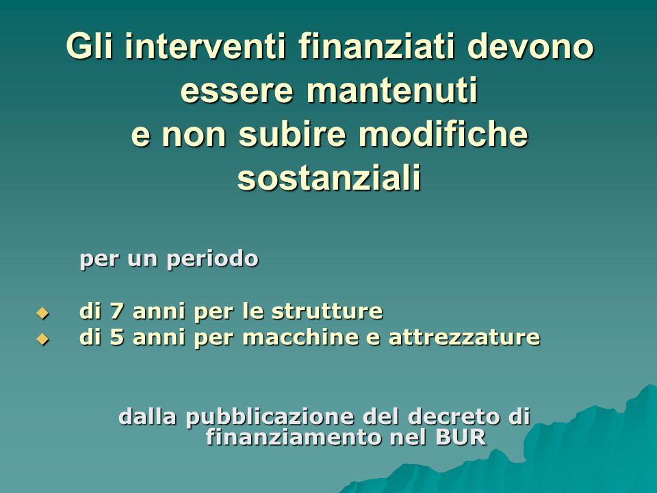 dalla pubblicazione del decreto di finanziamento nel BUR