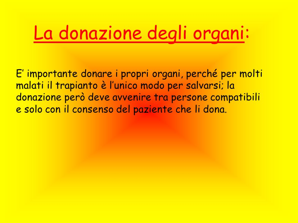 La donazione degli organi: