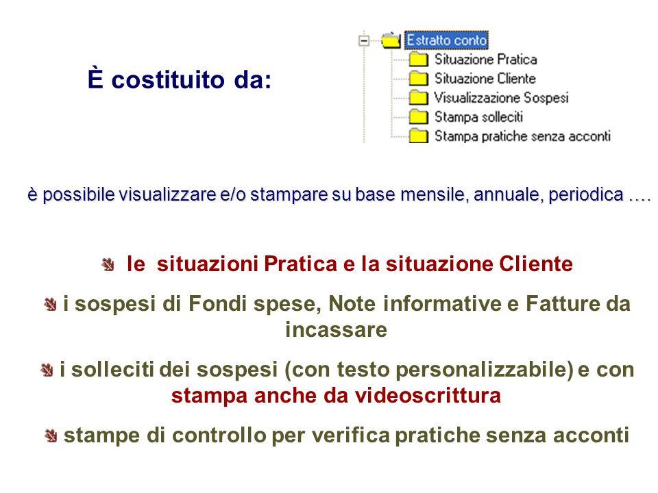 È costituito da: le situazioni Pratica e la situazione Cliente