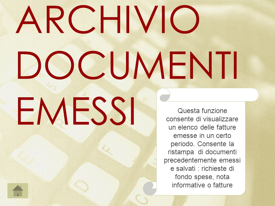 ARCHIVIO DOCUMENTI EMESSI