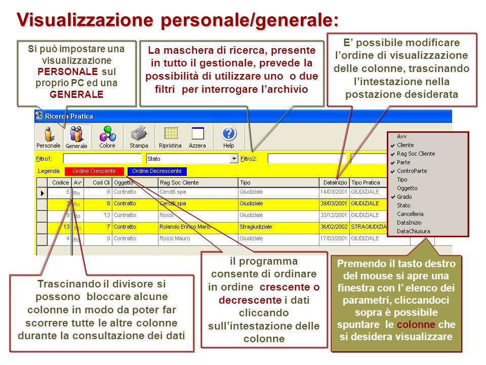 Visualizzazione personale/generale: