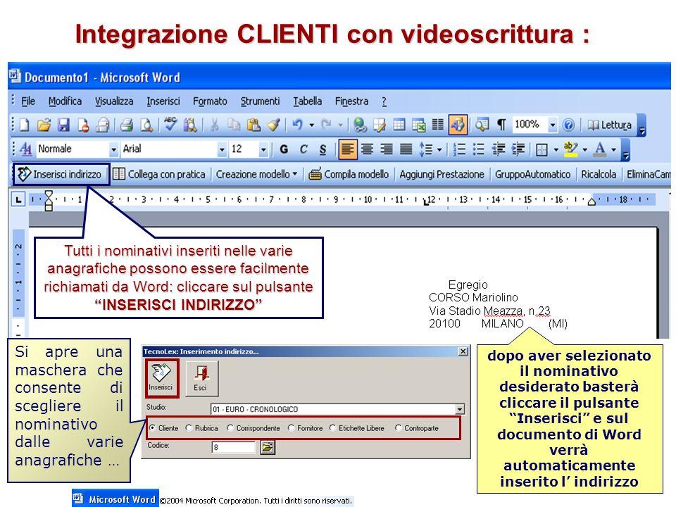 Integrazione CLIENTI con videoscrittura :