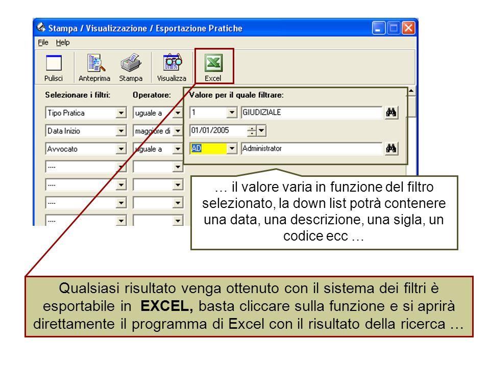 … il valore varia in funzione del filtro selezionato, la down list potrà contenere una data, una descrizione, una sigla, un codice ecc …