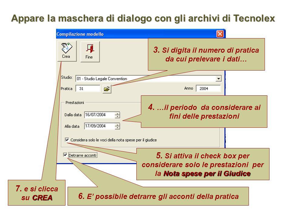 Appare la maschera di dialogo con gli archivi di Tecnolex