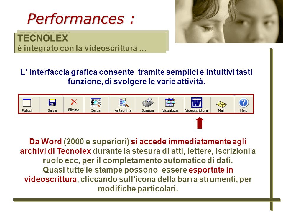 Performances : TECNOLEX è integrato con la videoscrittura …