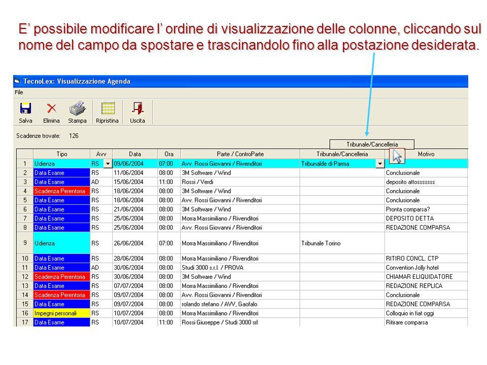 E' possibile modificare l' ordine di visualizzazione delle colonne, cliccando sul nome del campo da spostare e trascinandolo fino alla postazione desiderata.