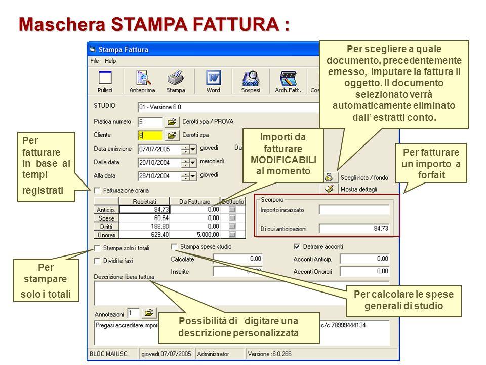 Maschera STAMPA FATTURA :