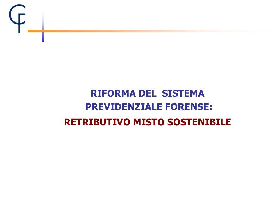 PREVIDENZIALE FORENSE: RETRIBUTIVO MISTO SOSTENIBILE