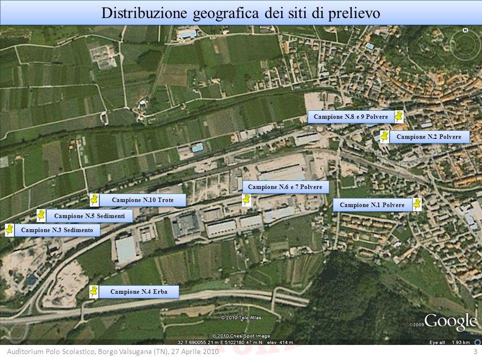 Distribuzione geografica dei siti di prelievo