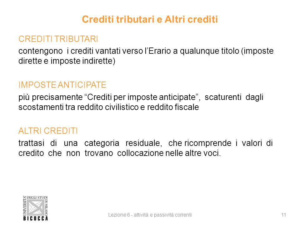 Crediti tributari e Altri crediti