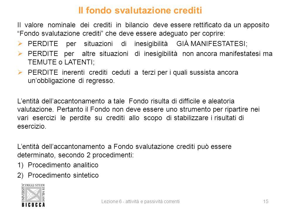 Il fondo svalutazione crediti