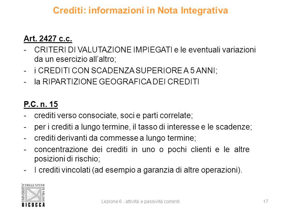 Crediti: informazioni in Nota Integrativa