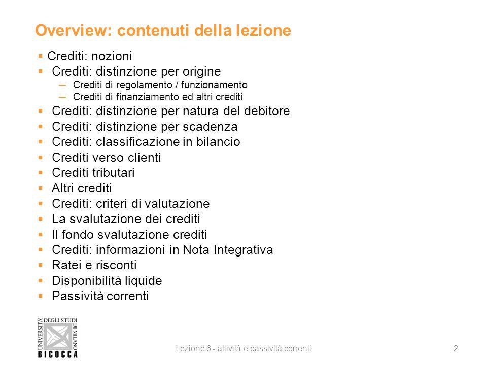 Overview: contenuti della lezione