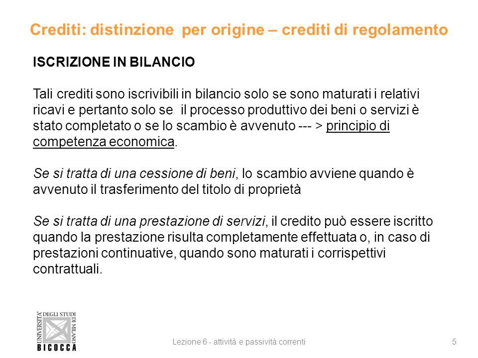 Crediti: distinzione per origine – crediti di regolamento