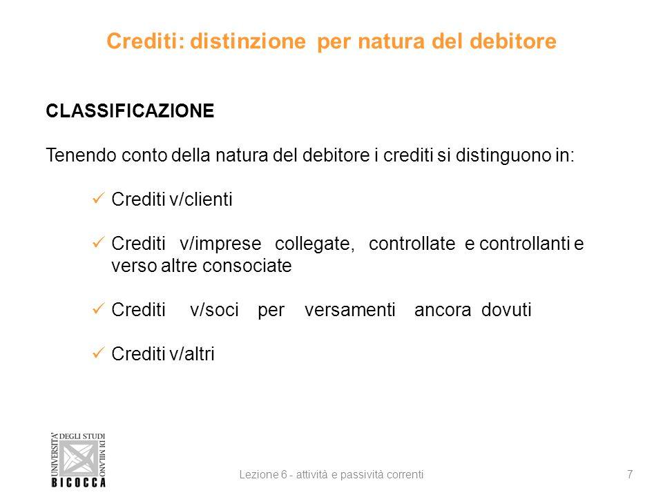 Crediti: distinzione per natura del debitore