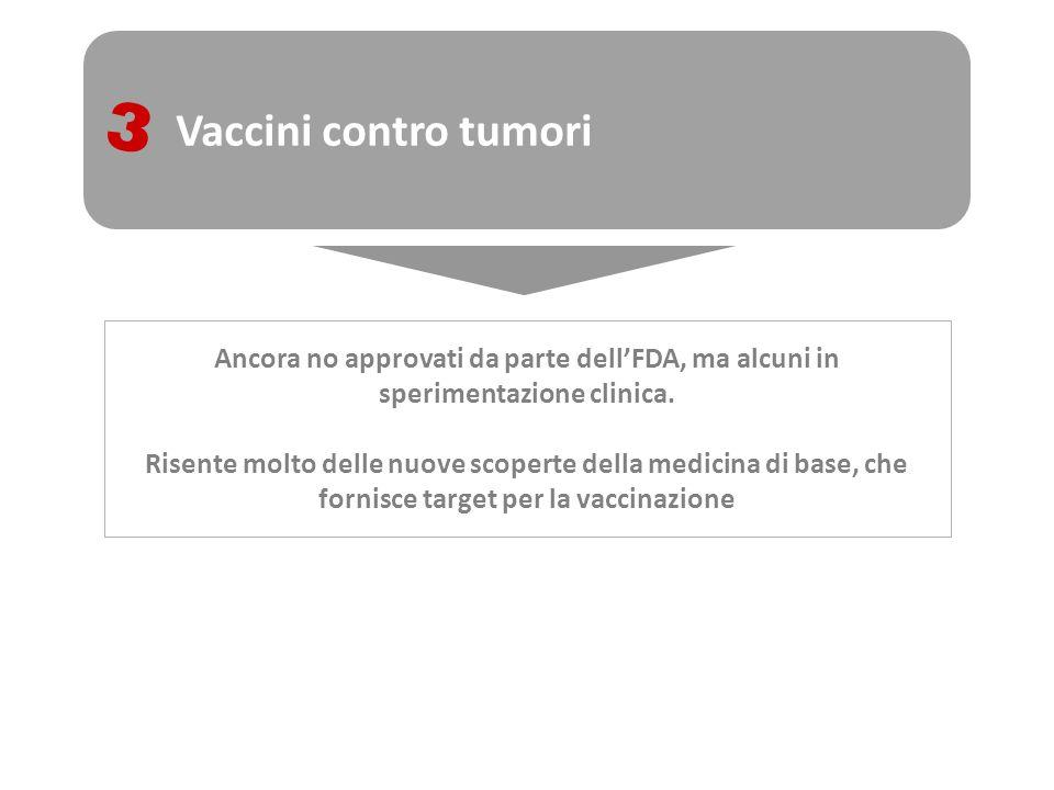 Vaccini contro tumori 3. Ancora no approvati da parte dell'FDA, ma alcuni in sperimentazione clinica.
