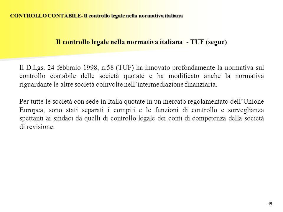 CONTROLLO CONTABILE- Il controllo legale nella normativa italiana