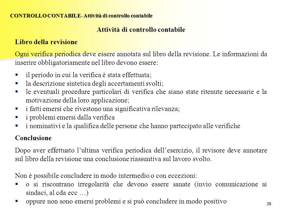 CONTROLLO CONTABILE- Attività di controllo contabile