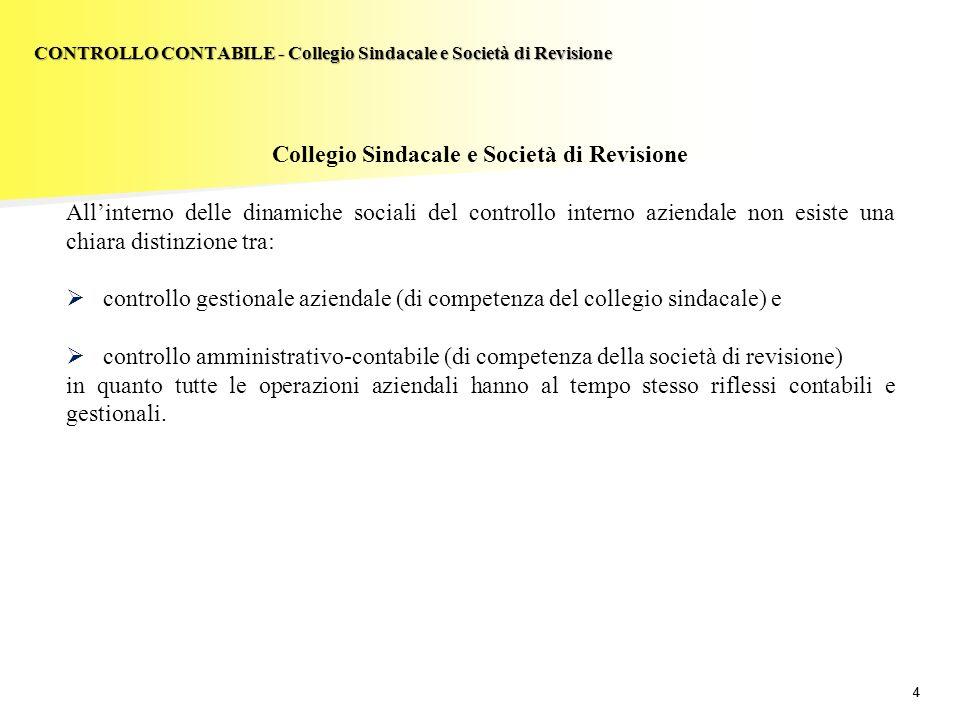 CONTROLLO CONTABILE - Collegio Sindacale e Società di Revisione