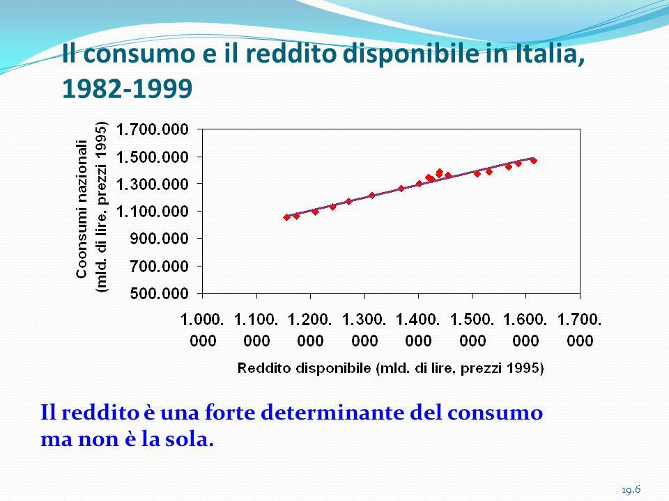 Il consumo e il reddito disponibile in Italia, 1982-1999