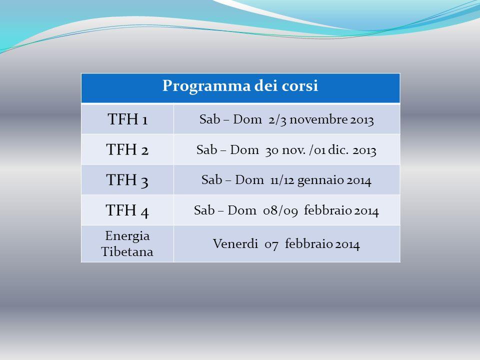 Programma dei corsi TFH 1 TFH 2 TFH 3 TFH 4