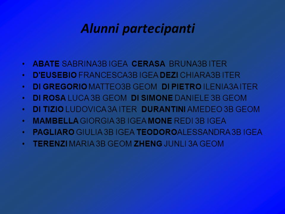 Alunni partecipanti ABATE SABRINA3B IGEA CERASA BRUNA3B ITER