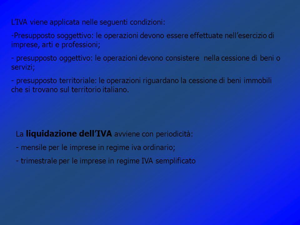 L'IVA viene applicata nelle seguenti condizioni: