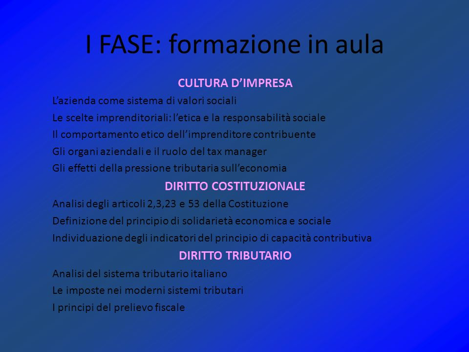 I FASE: formazione in aula