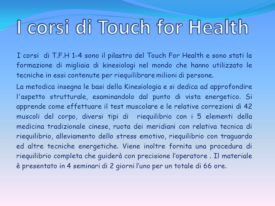 I corsi di Touch for Health