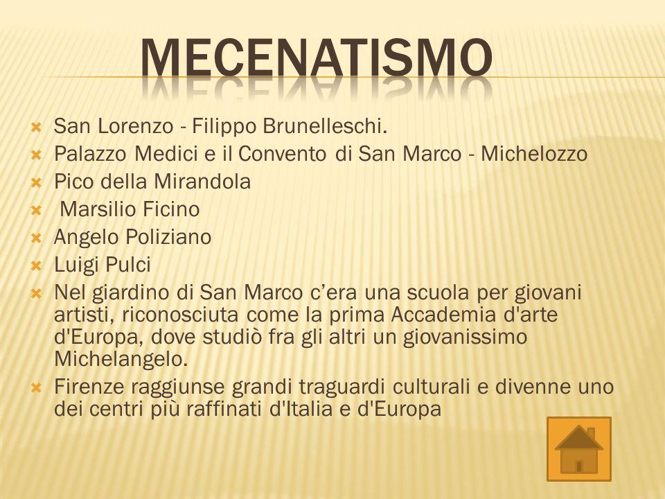 Mecenatismo San Lorenzo - Filippo Brunelleschi.