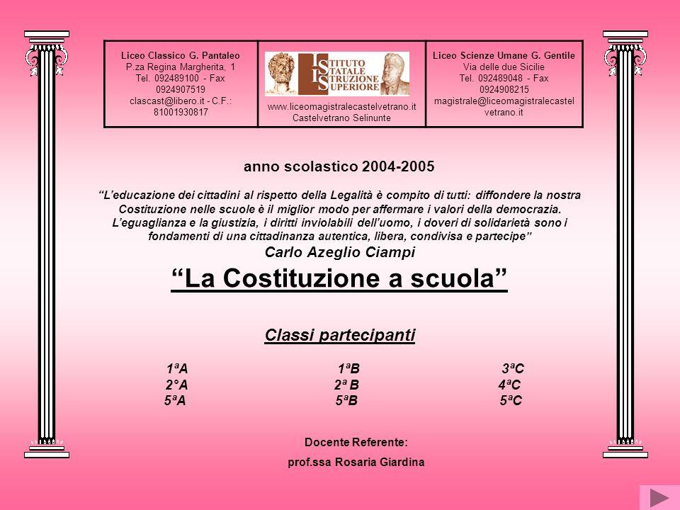 La Costituzione a scuola prof.ssa Rosaria Giardina