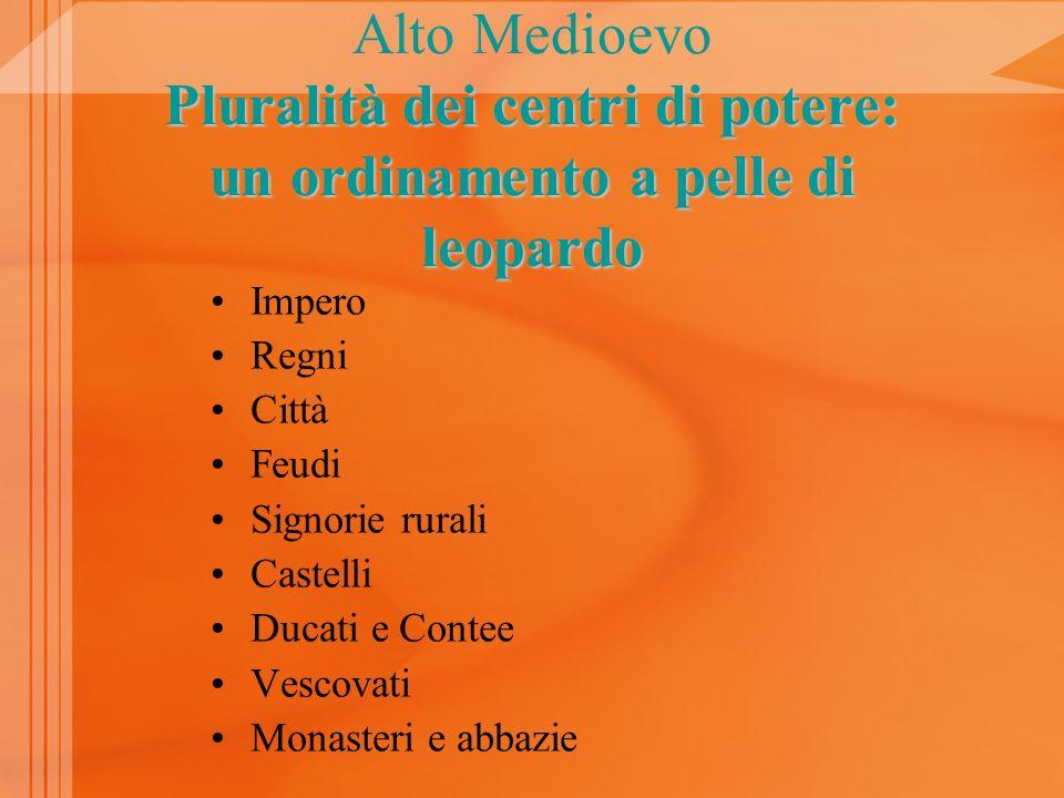 Alto Medioevo Pluralità dei centri di potere: un ordinamento a pelle di leopardo