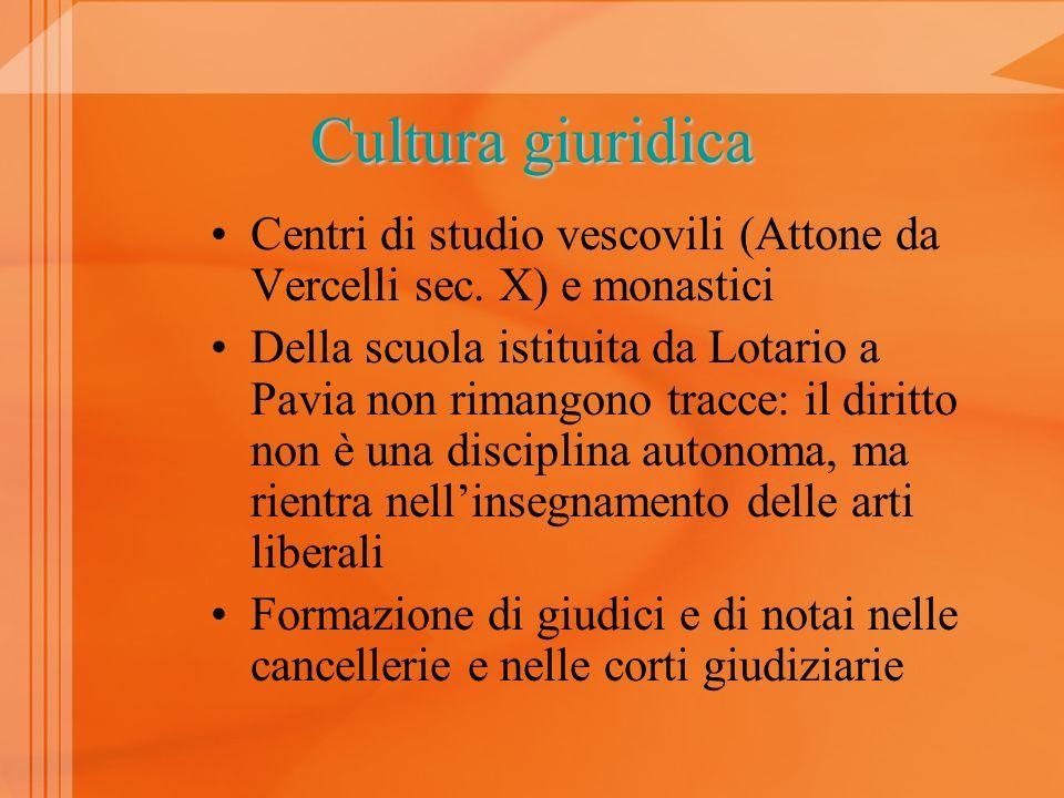 Cultura giuridica Centri di studio vescovili (Attone da Vercelli sec. X) e monastici.