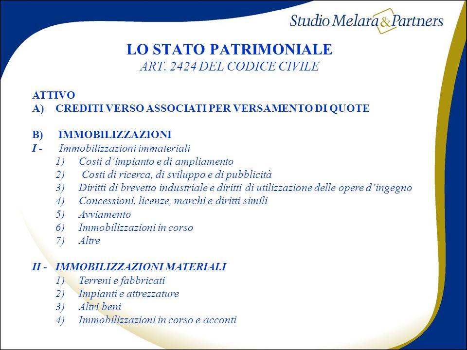 LO STATO PATRIMONIALE ART. 2424 DEL CODICE CIVILE
