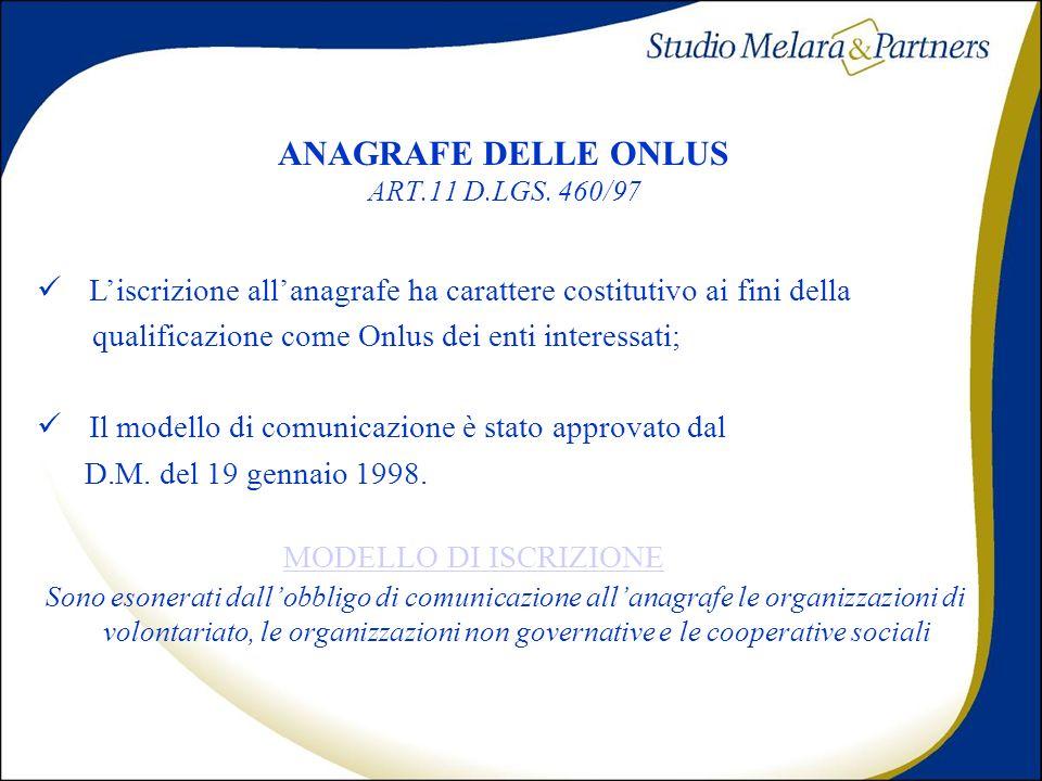 ANAGRAFE DELLE ONLUS ART.11 D.LGS. 460/97
