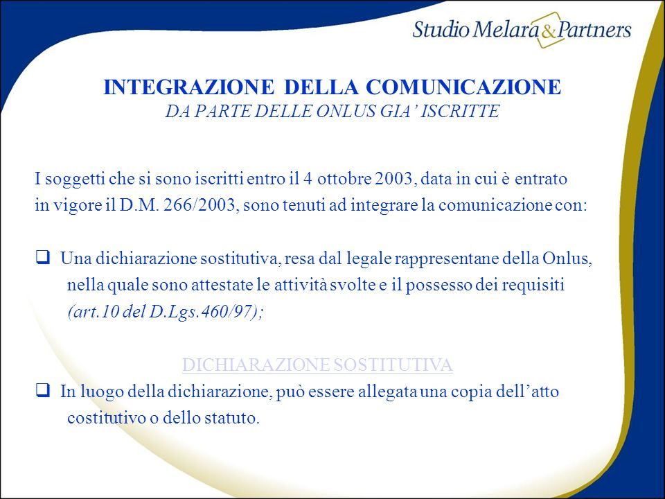 INTEGRAZIONE DELLA COMUNICAZIONE DA PARTE DELLE ONLUS GIA' ISCRITTE