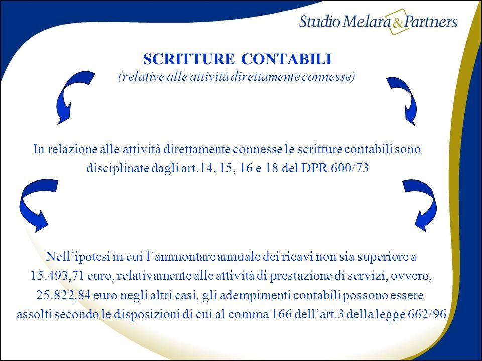 SCRITTURE CONTABILI (relative alle attività direttamente connesse)