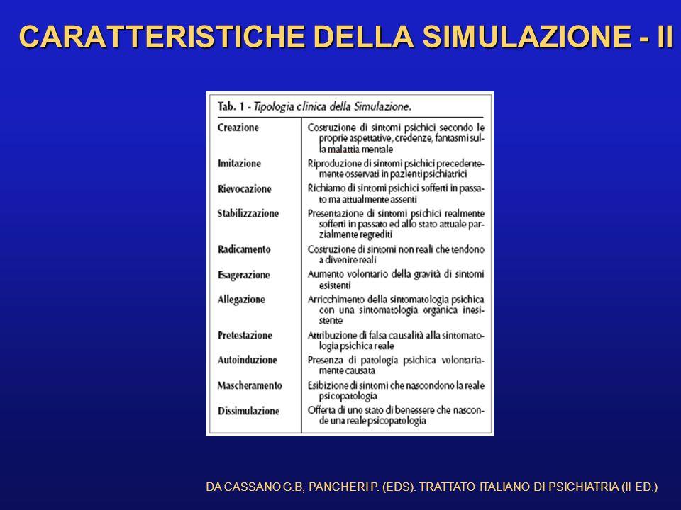 CARATTERISTICHE DELLA SIMULAZIONE - II