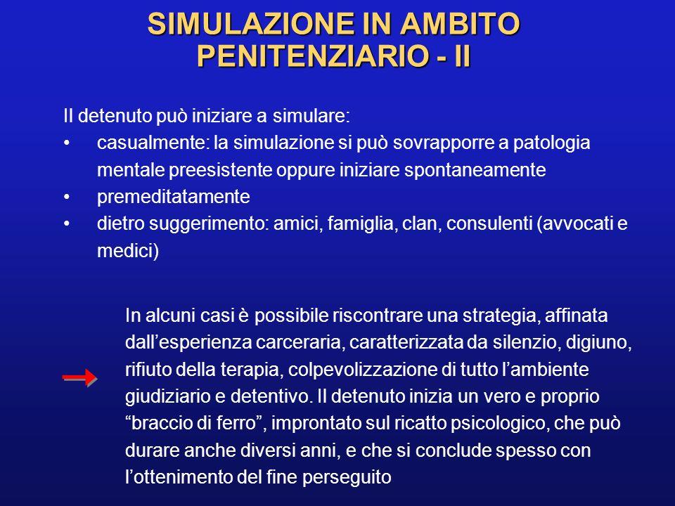 SIMULAZIONE IN AMBITO PENITENZIARIO - II