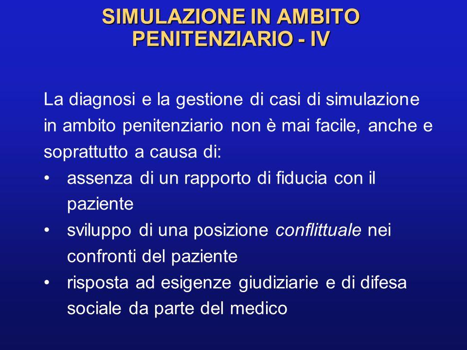 SIMULAZIONE IN AMBITO PENITENZIARIO - IV