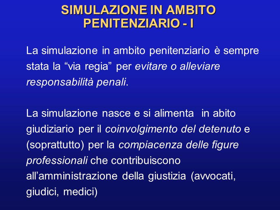 SIMULAZIONE IN AMBITO PENITENZIARIO - I
