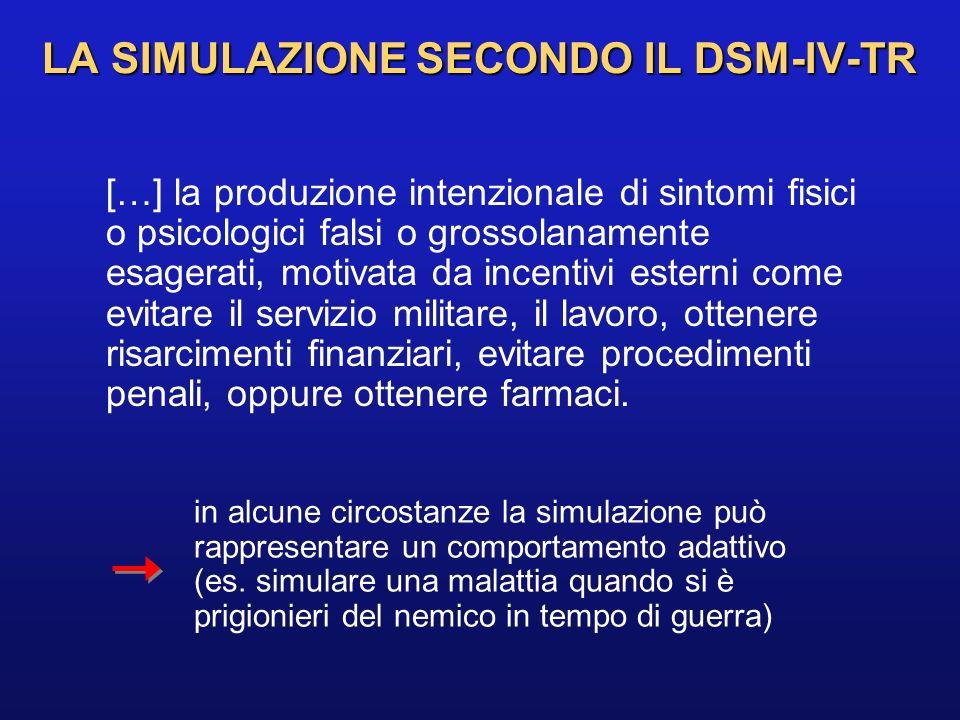 LA SIMULAZIONE SECONDO IL DSM-IV-TR