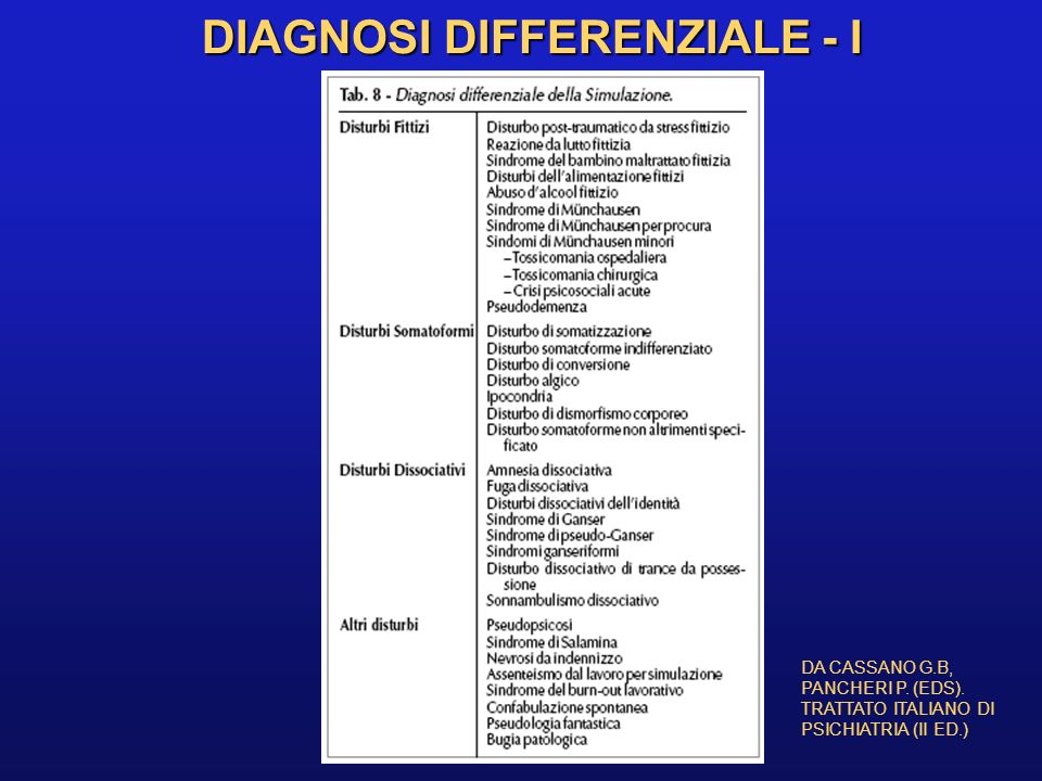DIAGNOSI DIFFERENZIALE - I