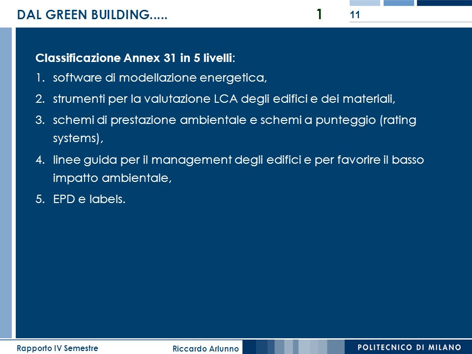 DAL GREEN BUILDING..... 1 Classificazione Annex 31 in 5 livelli: