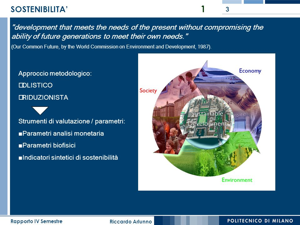 SOSTENIBILITA' 1 development that meets the needs of the present without compromising the ability of future generations to meet their own needs.
