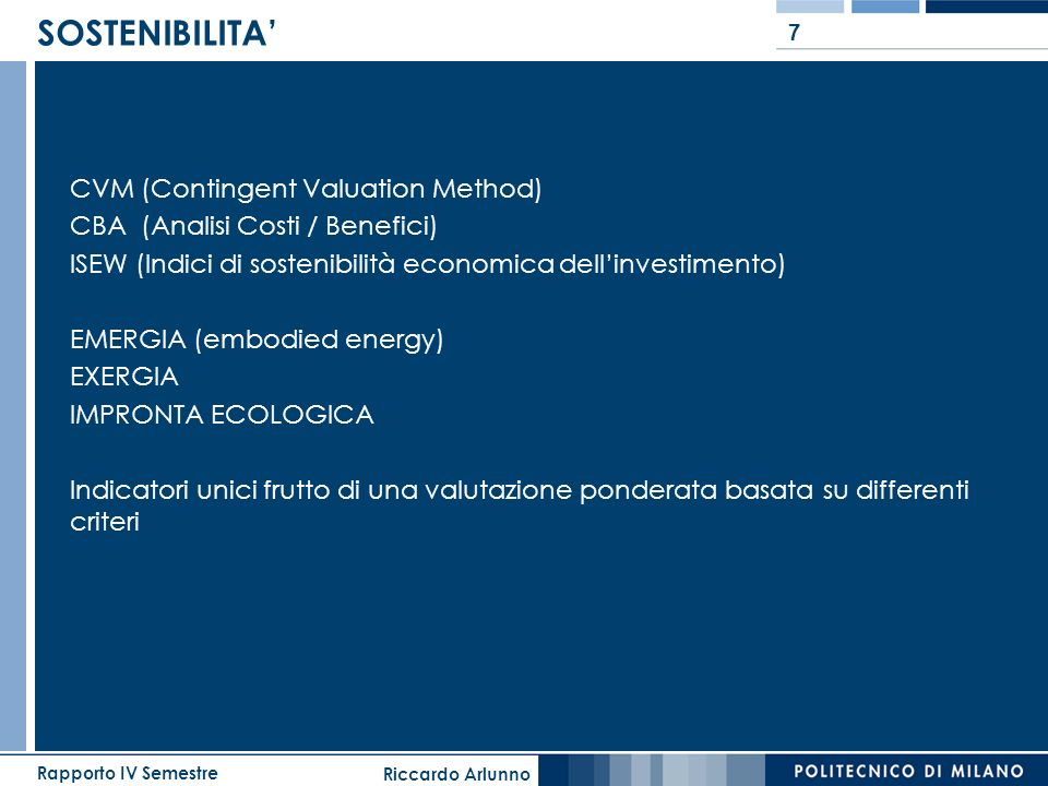 SOSTENIBILITA' CVM (Contingent Valuation Method)